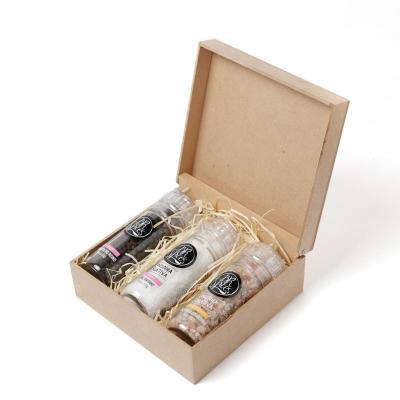 kit cozinha - Kit com três moedores de temperos gourmet em caixa de madeira